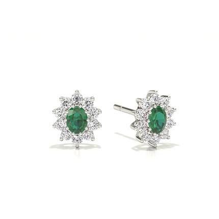 Prong Setting Halo Emerald Earring