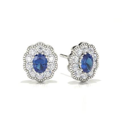 Prong Setting Halo Blue Sapphire Earring