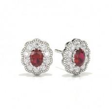 Oval Ruby Earrings