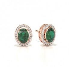 Rose Gull Smaragd Diamant Øredobber