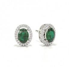 Oval Smaragd Diamant Øredobber