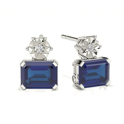 Emerald Blue Sapphire Drop Diamond Earrings