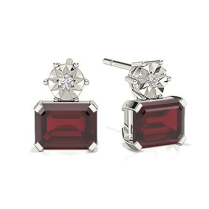 Emerald Ruby Drop Diamond Earrings