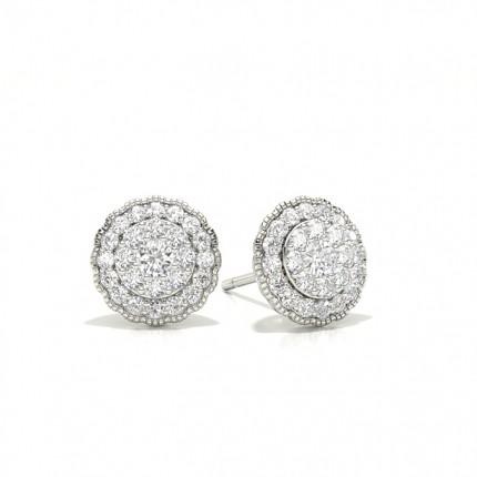 Boucles d'oreilles en grappe de diamants ronds à sertissage partagé