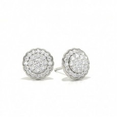 Shared Prong Setting Round Diamond Cluster Earrings