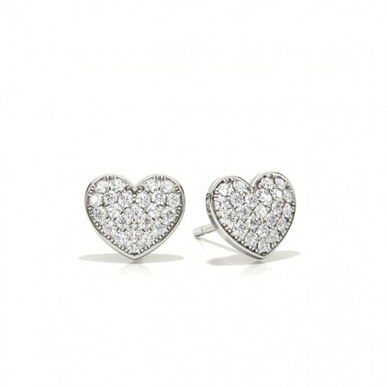 Micro Prong Setting Round Diamond Cluster Earrings
