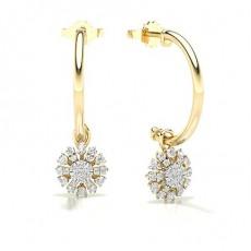 Pressure Setting Round Diamond Hoop Earrings