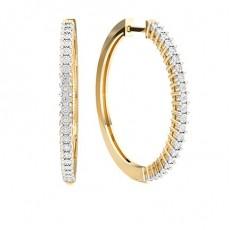 Boucles doreilles anneaux diamant rond serti griffes illusion