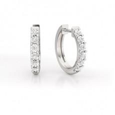 Or Blanc Boucle d'oreille Créoleen Diamant