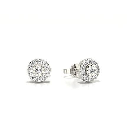 Micro Prong Setting Round Diamond Stud Earring