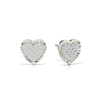 Shared Prong Setting Round Diamond Stud Earring