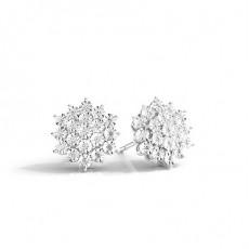 Illusionsplatte Prong-Einstellung Runde Diamant-Cluster-Ohrringe