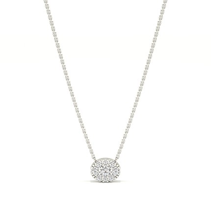 Micro Prong Setting Diamond Cluster Necklace