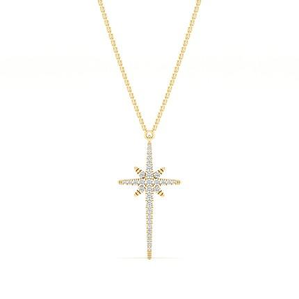 Micro Prong Setting Diamond Cross Necklace
