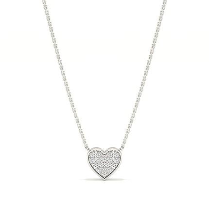 Diamant Herzkette mit Mikrozinkenfassung
