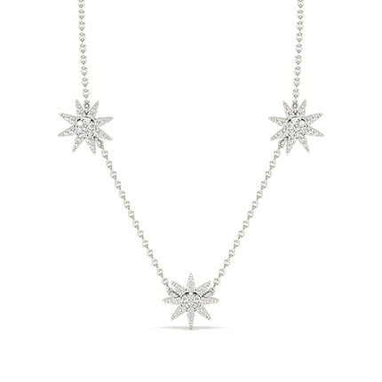 Micro Prong Setting Round Diamond Cluster Necklace