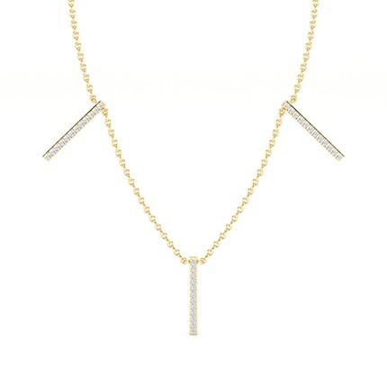 Micro Prong Setting Round Diamond Designer Necklace
