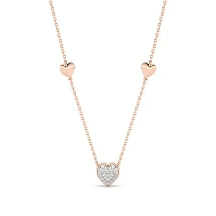 Pave Setting Round Diamond Heart Necklace