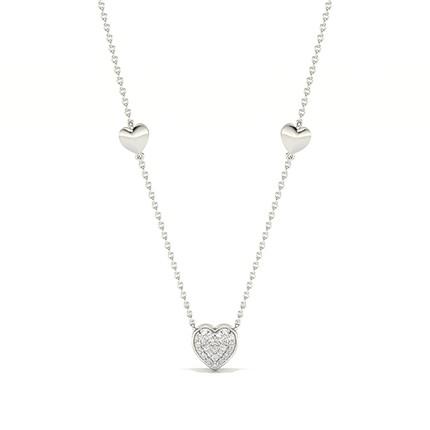 Collier coeur diamant rond serti pavé