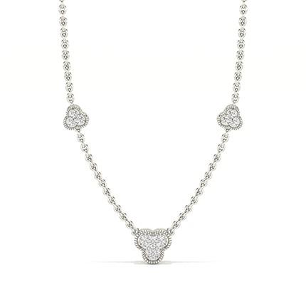 Pave Setting Round Diamond Designer Necklace