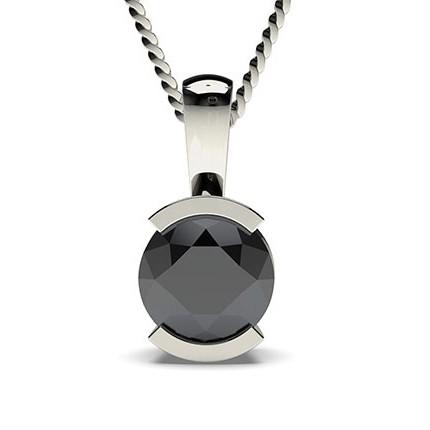 Semi Bezel Setting Black Diamond Solitaire Pendant