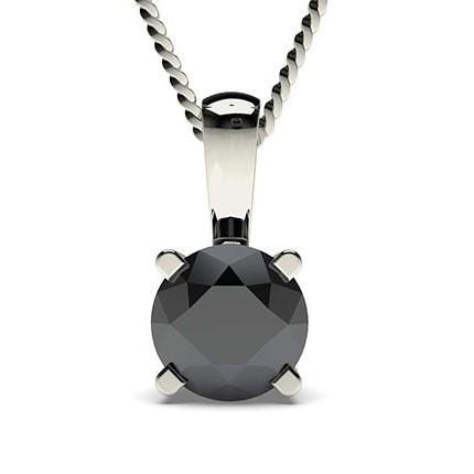 4-Klofattning Svart Diamant Solitärhänge