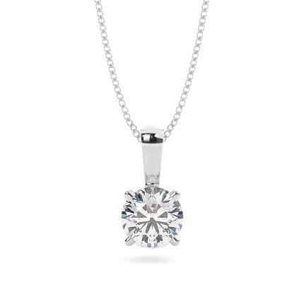Pendentif solitaire diamant rond/princesse serti 4 griffes