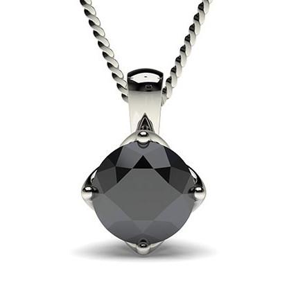 4 Prong Setting Black Diamond Solitaire Pendant