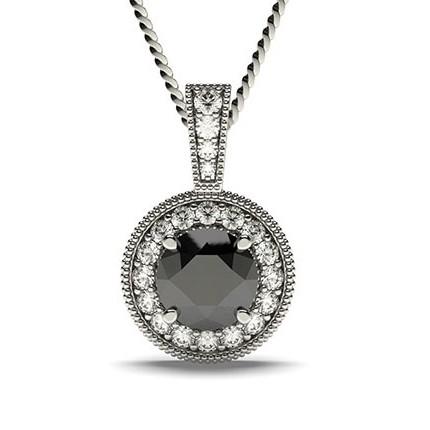 Pendentif halo diamant noir rond serti 4 griffes et pavé