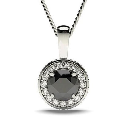 4-Kloinfattad Halo Svart Diamant Hängsmycke