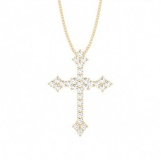 Yellow Gold Cross Diamond Pendants