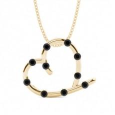 Oro giallo Collane con ciondoli di diamanti neri