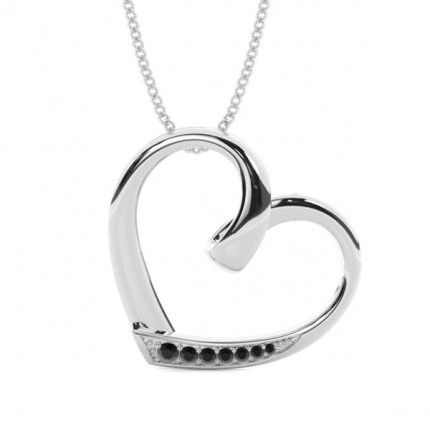 Pave Setting Black Diamond Heart Pendant