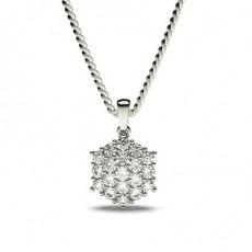 Hvitt Gull Klynge Diamant Anheng