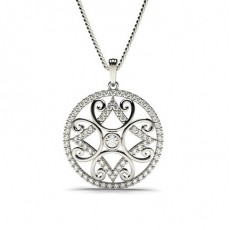 Round Designer Diamond Pendants Necklaces