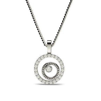 0.20ct Full Bezel Prong Setting Round Diamond Delicate Pendant