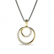 Yellow Gold Circle Diamond Pendants Necklaces