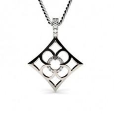 0.05ct. 4 Prong & Pave Setting Round Diamond Delicate Pendant