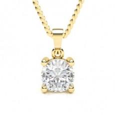 Yellow Gold Solitaire Diamond Pendants Necklaces