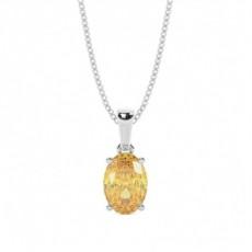4-Dels Set Gul Diamant Solitaire Vedhæng