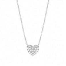 4 Prong Setting Round Diamond Heart Pendant