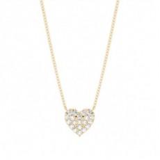 Yellow Gold Heart Diamond Pendants Necklaces