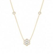 Oro giallo Collane delicate con ciondoli di diamanti