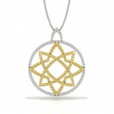 Gul Diamant Cirkel Designer Vedhæng