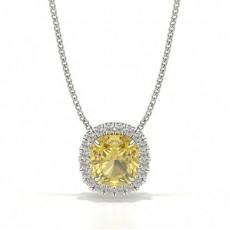 4-Dels Gul Diamant Halo Vedhæng