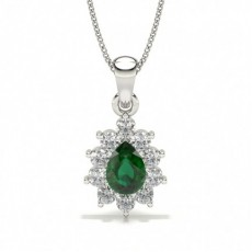 Platinum Gemstone Diamond Pendants Necklaces