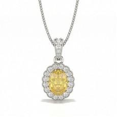 Gul Diamant Halo Vedhængindfatning
