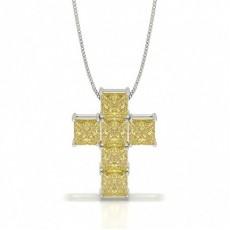 Gul Diamant Kors Vedhæng
