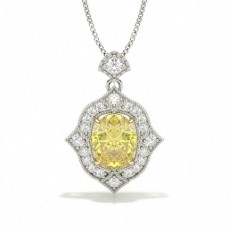 Fatning Set Gul Diamant Halo Vedhæng