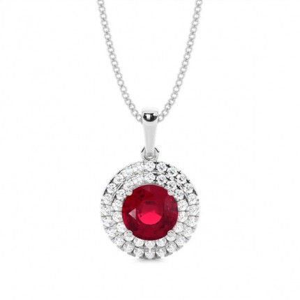 Prong Setting Round Ruby Halo Pendent